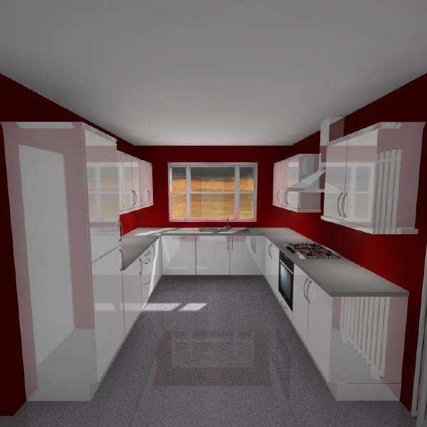 3d U shaped kitchen