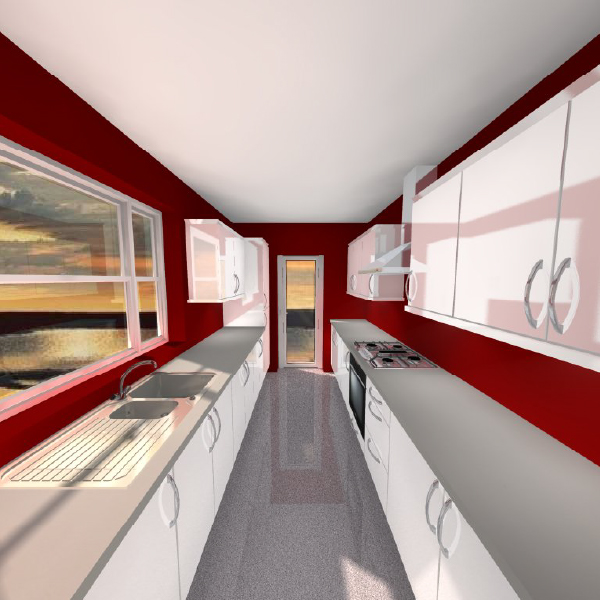 3d galley kitchen