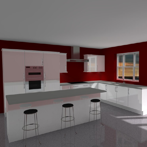 3d island kitchen